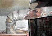 Combustion exhaust flue leak