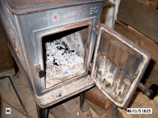 Combustion - wood stove ash